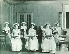 WWI RN education: Only a skeleton staff of graduate nurses remained to teach the academic subjects: anatomy, physiology, chemistry, bacteriology, hygiene, sanitation, dietetics, and preparation of drugs and solutions. But when the Spanish influenza epidemic hit at the end of September 1918, young student nurses, like those in this Homeopathic (New York) Hospital class, were most vulnerable.  Hospital beds quickly filled with the young women trained to help make others well.