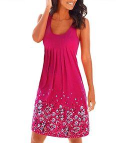 Flying Rabbit Women's Summer Dress Printing Knielang Sleeveless Round Collar A-Line Beach Dress Loose Summer Dress (xl, rose red) Casual Summer Dresses, Beach Dresses, Summer Dresses For Women, Dress Beach, Mini Dresses, Dress Casual, Sleeveless Dresses, Dress Summer, Prom Dresses