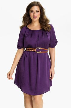 Jessica Simpson Belted Scoop Neck Dress (Plus)