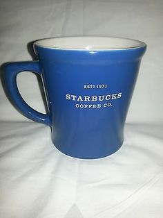 Starbucks Coffee Co 2008 Blue White Oversized 18 oz Mug Cup New with Sticker | eBay