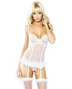 #Lingerie Underwire embroidered babydoll w/hook & eye closure & g-string white md - $37.73