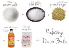 5 DIY Detox Bath Make sure and add 1 cup of Baking Soda to nuetralize chlorine if you are bathing in unfiltered city water.