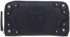 GG ROSE DIA DE MUERTE WALLET BLACK G.G. Rose brings you a new beloved accessory, the Dia De Muerte Wallet. This zip closure wallet features an embossed Day Of The Dead skull flanked by two roses, and round metal studs. With plenty of space inside for all of your cash and cards, and a change pocket to hold anything that you don?t want getting loose ? it?s sure to become an instant favorite. $34.00 #rockrebel #ggrose #wallet #accessories #skull #dayofthedead