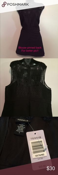 NWT TORRID Preplum blouse SZ 4(4X) OFFERS ACCEPTED NWT TORRID Preplum black blouse. The top is a lace material with a solid black bottom. Size is a 4 or 4X.  The first picture is pinned back for a better descriptive picture, but the pin is removed for the final other pictures.    The back contains a zipper for ease of putting in and taking off.  If I may answer any additional questions, please ask. Torrid Tops Blouses