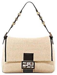 62a4c3fda8 Fendi Big Mama Straw Flap Shoulder Bag. Get one of the hottest styles of the