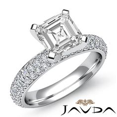 Sturdy Asscher Diamond Pre-Set Engagement Ring GIA I SI1 14k White Gold 2.08 ct #Javda #SolitairewithAccents