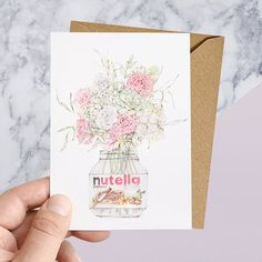 Nutella jar & flowers greeting card by CarmenHuiArt