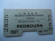 Railway Ticket : LMS : Harpenden to Redbourn 1945