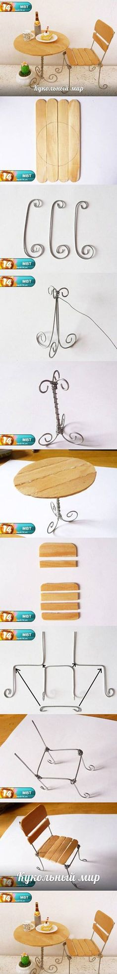 DIY Popsicle Stick Desk and Chair DIY Popsicle Stick Desk and Chair by diyforeve. DIY Popsicle Stick Desk and Chair DIY Popsicle Stick Desk and Chair by diyforever Fairy Furniture, Doll Furniture, Dollhouse Furniture, Miniature Furniture, Paper Furniture, Furniture Chairs, Outdoor Furniture, Furniture Ideas, Miniature Chair