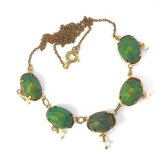 Antique Victorian Genuine Scarab Beetle and Seed Pearl