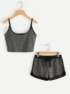 Shop Ringer Crop Cami Top With Drawstring Shorts online. SheIn offers Ringer Crop Cami Top With Drawstring Shorts & more to fit your fashionable needs. Cute Lazy Outfits, Sporty Outfits, Summer Outfits, Pajama Outfits, Crop Top Outfits, Teen Fashion, Fashion Outfits, Womens Fashion, Fashion Black