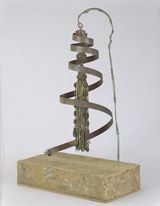 Artists in 60 Seconds: Baroness Elsa von Freytag-Loringhoven: Baroness Elsa von Freytag-Loringhoven (German, 1874-1927). Limbswish, ca. 1917-1918. Metal spring, curtain tassel, and wire mounted on wood block. Height with base: 21 11/16 in. (55.1 cm); base approx. 14 x 7 1/2 in. (35.6 x 19.1 cm).