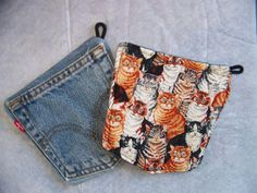 Potholders Repurposed Denim Levis with Cats by 5dogdesigns on Etsy, $12.50