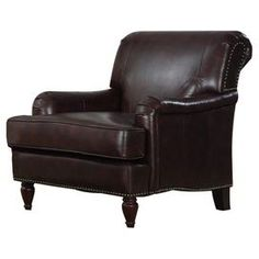"Highlighted by bold nailhead trim, this bonded leather arm chair brings a touch of rich style to your living room or library.   Product: ChairConstruction Material: Wood and bonded leatherColor: Chocolate Features: Nailhead trim Dimensions: 33"" H x 37"" W x 32"" D"