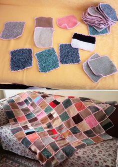 Kalan örgü iplerinden battaniye , koltuk örtüsü yapımı - knit , yarn , blanket - D.I.Y do it yourself - kendin yap