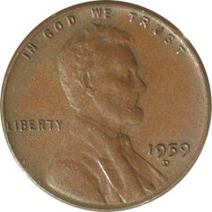 Obverse of 1959-D One Cent - Wheat Ears on Reverse