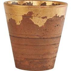pichet rustique   Iron & Clay - Pot Rustique avec Feuille Dorée - S