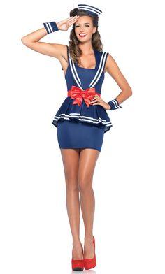 #nautical #sailor #costume Sailor Outfits, Sailor Dress, Girl Outfits, Navy Sailor, Costume Marin, Navy Costume, Pin Up, Sailor Halloween Costumes, Adult Halloween
