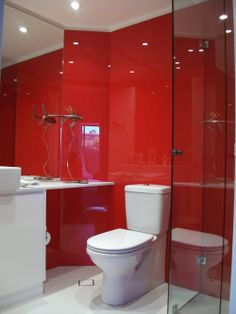 1000 images about bathroom on pinterest glass for Bathroom ideas with red walls