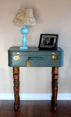 Vintage Suitcase Table Side Table Storage By OldBarnTreasures