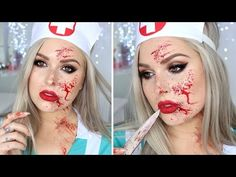 Blood Splatter Tutorial ♡ Sexy Nurse Halloween Makeup Tutorial Costume - YouTube