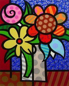 "Romero Britto (Brazilian, b. ""van Britto"", screenprint, signed, ed. Pintura Graffiti, Graffiti Painting, Graffiti Art, Arte Pop, Tableau Pop Art, Art Fantaisiste, Fish Sculpture, Elements Of Art, Art Floral"