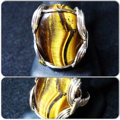 Tigers Eye Wire Wrapped Ring Wire Ring Wire Wrap Ring  Wire Wrapped Jewelry