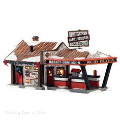 Snow Village Harley Big Tin Drive-In 4042407 Department 56 MOTORCYCLE NIB 2015