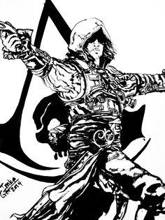assassin_s_creed_black_flag_bw_by_superimki-d8g4sq1