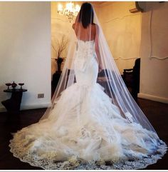 >> Click to Buy << Velos De Novia 2015 Gorgeous White/Ivory Wedding Veils One Layer 3 Meters Lace Appliques With Comb Wedding Accessories Handwork #Affiliate