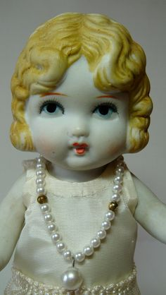 Vintage Doll - Bisque Flapper Girl from 1920s-1930s -
