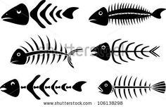 various fish bones stencils vector illustration for web by Kristina Birukova, via Shutterstock