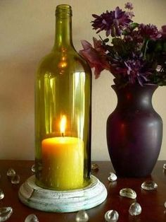 GOLD Wine Bottle Candle Holder Hurricane Lamp Centerpiece