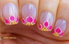 #Pink #tropical #floral #frenchmanicure French Manicure Nails, French Manicure Designs, Nail Designs, Tropical Flower Nails, Easy Nail Art, Nail Tutorials, Simple Nails, Nail Tips, Easy Diy