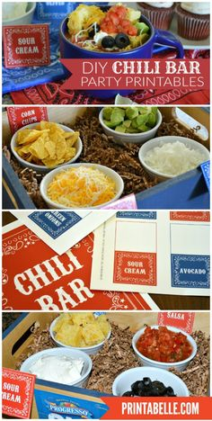Bar Sign and Topping Cards (plus, extras!) - Party planning - Chili Bar Sign and Topping Cards (plus, extras!) - Party planning -Chili Bar Sign and Topping Cards (plus, ex Chili Bar Party, Slow Cooker Chili, Winter Onederland, Party Printables, Free Printables, Sour Cream, Super Bowl, Chile, One Day