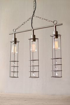 THREE CYLINDER PENDANT LIGHT WITH GLASS GEMS