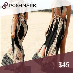 💋HP Summer Maxi dress - beach coverup Beautiful summer maxi dress, lightweight and perfect for the beach. ☀️ Boutique item nwot. Approximate measurements: Small - skirt length 37 1/2 in, waist 18 in. Medium - - skirt length 38 1/2 in, waist 19 in. Large  - skirt length 39 1/2 in, waist 20 in. Note waist is adjustable. Dresses Maxi