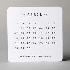 W+K Studio letterpress coaster calendar