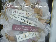 Serve the Lord Mesh Wreath by CharmedSouth on Etsy, $71.00