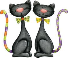 pair of cats I Love Cats, Crazy Cats, Cute Cats, Funny Cats, Image Chat, Halloween Clipart, Halloween Art, Cat Quilt, Cat Drawing