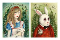 Alice and the White Rabbit - open edition  - 2 print set. €30.00, via Etsy.
