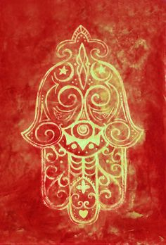 ☯☮ॐ American Hippie Psychedelic Hamsa in Red Art Print