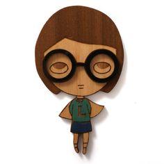 Lonely Girl Hero  brooch by jamfancy on Etsy, $35.00