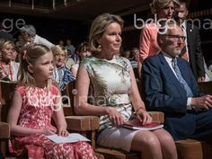 May 9, 2016 - Brussels, Belgium - HRM the Queen Mathilde and Princess Eleonore of Belgium attend the first semi-finals of the Queen Elizabeth contest dedicated to the piano this year in Brussels, Belgium.