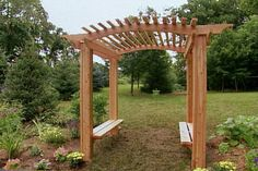 How to Build a Wood Arbor for Garden or Yard Learn how to construct a cedar garden arbor with built- Cedar Garden, Wooden Garden, Garden Gates, Outdoor Projects, Garden Projects, Diy Projects, Backyard Projects, Outdoor Ideas, Outdoor Decor