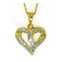 10k Yellow Gold 0.25Ctw Round Baguette Diamond Heart Ladies Pendant