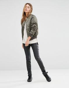 Image 4 ofNew Look Quilted Bomber Jacket