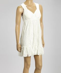 Look what I found on #zulily! White Lace Cutout Empire-Waist Dress by Sand Studio #zulilyfinds