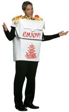 Chinese Take Out Costume -- This food costume is a recipe for winning your Halloween Costume Contest! #food #recipes #halloween #costume