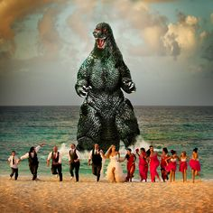 beach wedding with one uninvited guest